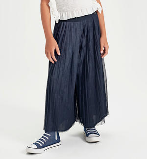 Long trousers in pleated tulle BLUE