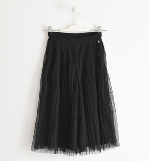 Long trousers in pleated tulle BLACK