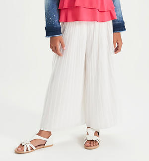 Long trousers in pleated tulle CREAM