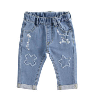 Newborn boy stretch cotton blend denim trousers with patch LIGHT BLUE
