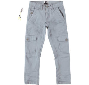Boy's cargo trousers in stretch cotton GREY