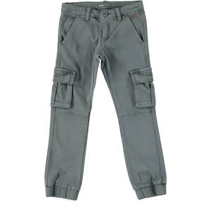 Cargo trousers in elasticised cotton GREY