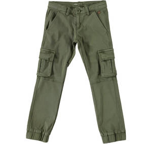 Cargo trousers in elasticised cotton GREEN