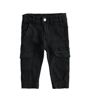 Cargo model trousers in stretch twill BLACK