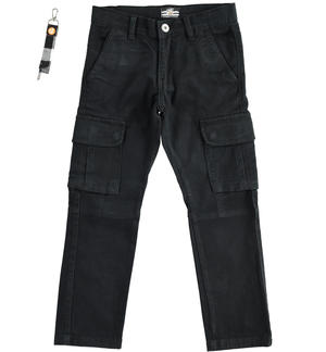 Cargo model trousers, made of stretch cotton twill BLACK