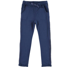 Trousers with a low crotch and keychain BLUE