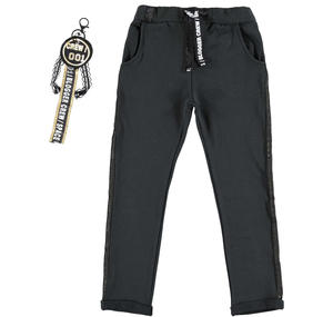 Trousers with a low crotch and keychain BLACK