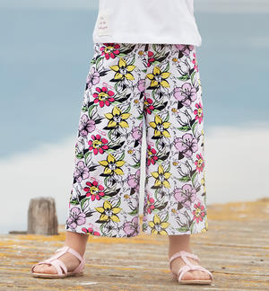 "Floral patterned palazzo trousers in organic cotton ""Sarabanda interprets The New 500"" WHITE"