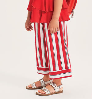 Striped jersey palazzo trousers RED