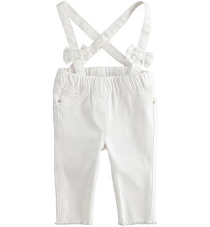 Baby girl stretch cotton twill trousers dungarees model WHITE