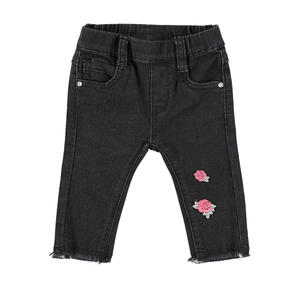 Skinny trousers with roses  BLACK