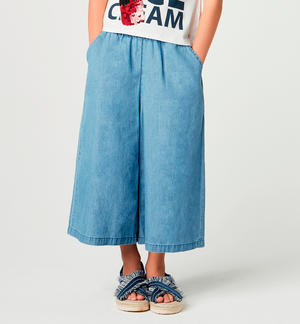 Wide gaucho trousers for girl BLUE