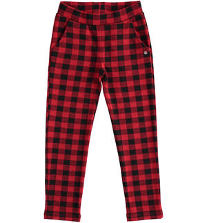 Check print trousers for girl RED
