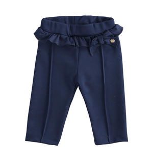 Milano stitch newborn girl trousers with ruffles BLUE