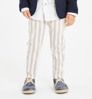 Striped trousers in soft fabric BEIGE