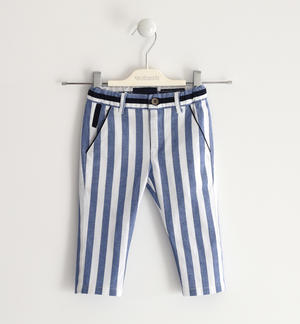 Striped trousers in soft fabric BLUE