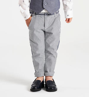 Striped chino cut trousers GREY