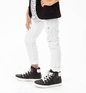 Cotton slim fit trousers with frayed rips WHITE