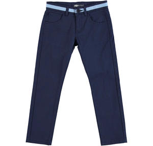 Slim fit trousers in striped cotton stretch pique BLUE