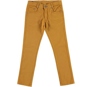 Slim fit trousers in stretch cotton twill  BROWN