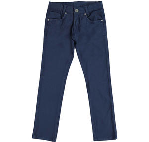 Slim fit trousers in stretch cotton twill  BLUE