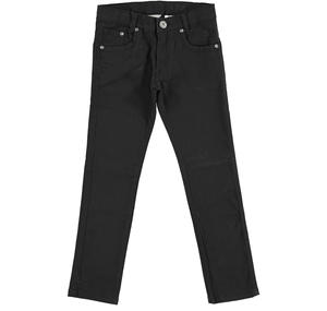 Slim fit trousers in stretch cotton twill  BLACK