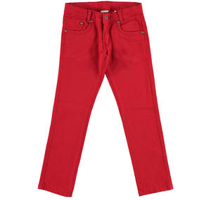 Slim fit trousers in stretch cotton twill  RED