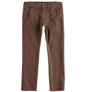 Slim-fit trousers in stretch cotton twill BROWN