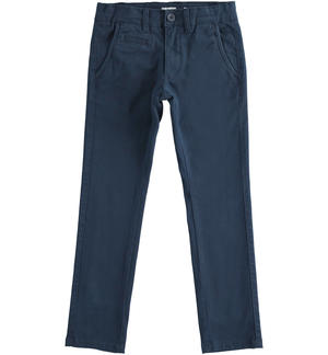 Slim-fit trousers in stretch cotton twill BLUE