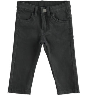 Pantalone slim fit in twill stretch NERO