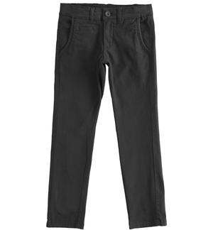 Slim-fit trousers in stretch cotton twill BLACK