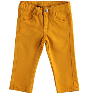 Pantalone slim fit in twill stretch GIALLO
