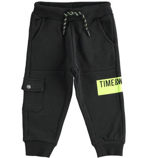 Sports trousers in brushed fleece with side pocket BLACK