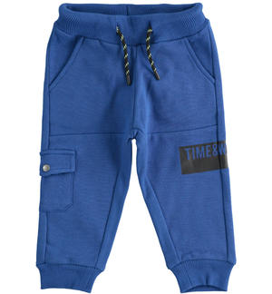 Sports trousers in brushed fleece with side pocket BLUE