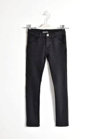 Solid-coloured trousers in a stretch fleece fabric   BLACK