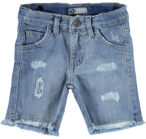 Stone washed denim stretch shorts with rips for boys BLUE
