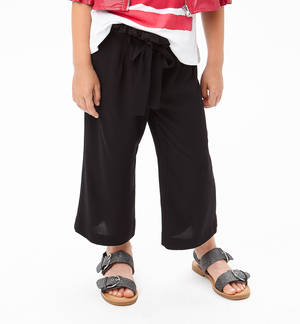 Cropped trousers in soft viscose fabric BLACK