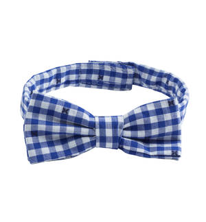 Checked bow tie with velcro strap BLUE