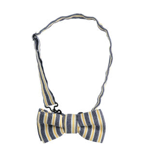 Striped stretch poplin bow tie