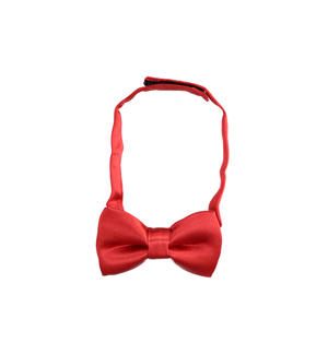 Shiny fabric newborn baby bow tie RED