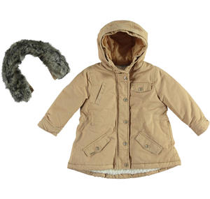 Parka jacket with a sequined heart  BEIGE