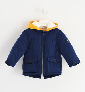 Sarabanda parka jacket with nice contrasting colour lining with patterns BLUE