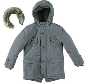 Parka lined in faux leather with hood for boys GREY