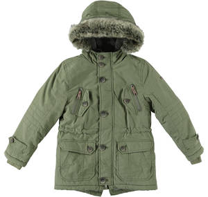 Parka lined in faux leather with hood for boys GREEN