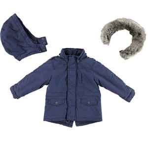 Winter parka jacket with removable hood and faux fur trim  BLUE