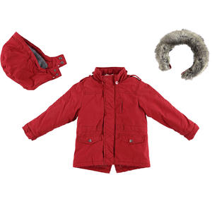 Winter parka jacket with removable hood and faux fur trim  RED