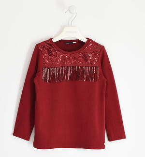 Particular round neck with sequins and fringes RED