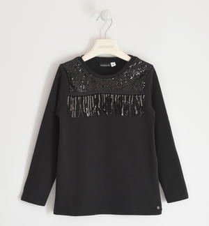 Particular round neck with sequins and fringes BLACK