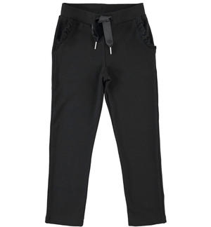 Special light fleece trousers with ruffles on the pocket BLACK