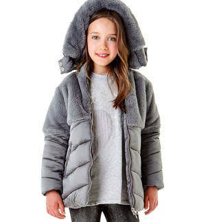 Padded jacket doubled in faux fur GREY